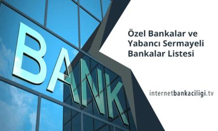 Photo of Özel Bankalar ve Yabancı Sermayeli Bankalar Listesi