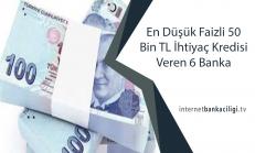 En Düşük Faizli 50 Bin TL İhtiyaç Kredisi Veren 6 Banka